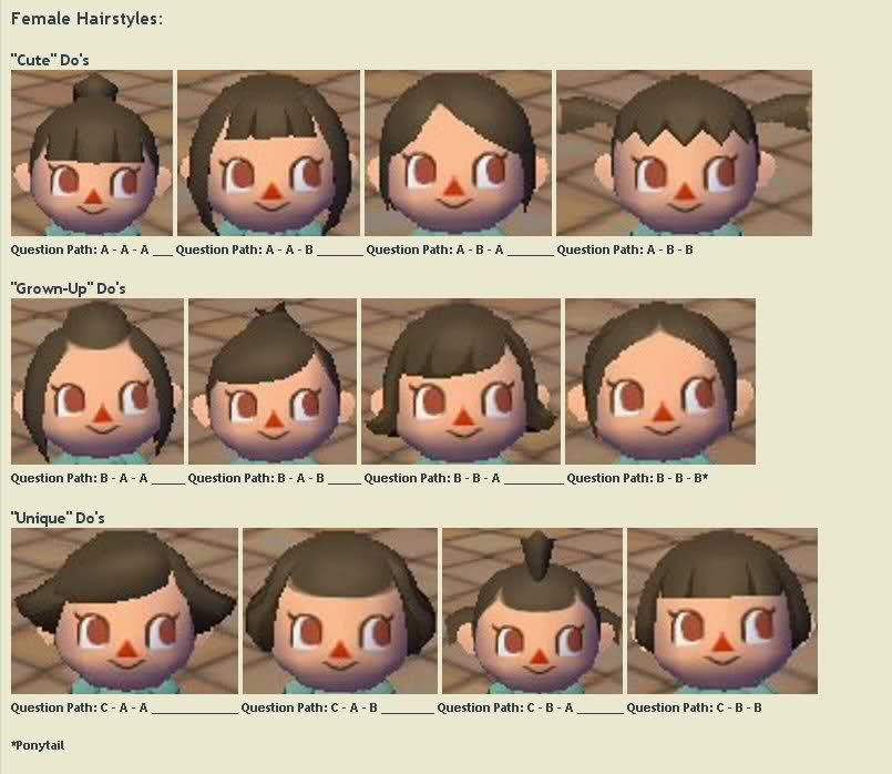Hairstyle Guide Animal Crossing City Folk Animal Crossing Game
