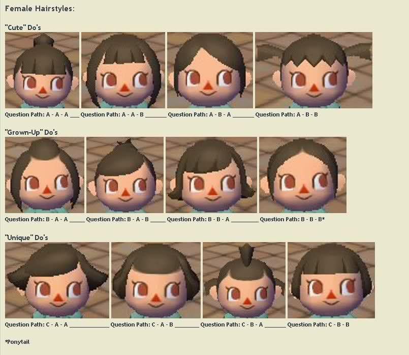 Hairstyle Guide Animal Crossing City Folk Animal Crossing Game