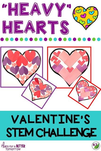 """Valentine's Day STEM Challenge: In """"Heavy"""" Hearts, students fill an outer heart with inner hearts based on certain criteria & constraints in order to design the """"heaviest"""" heart. Comes with modifications for grades 2-8."""