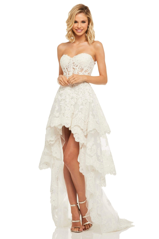Sherri Hill 52513 Sweetheart Lace High Low Dress In 2021 Hi Low Wedding Dress Wedding Dresses High Low Lace High Low Dress [ 3001 x 2000 Pixel ]