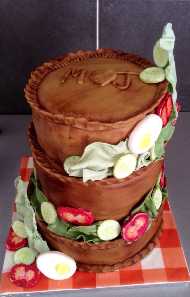 Vanilla Sponge Cakes Making Up A Fake Pork Pie Wedding Cake