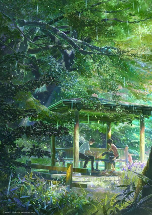 El Jardin De Las Palabras 2013 Makoto Shinkai Jardin De Las Palabras Paisaje De Fantasia Ilustracion De Paisaje