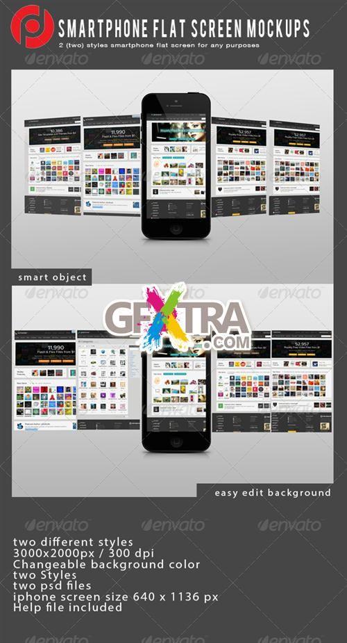 GraphicRiver Smartphon Flat Screen Mockup Iphone