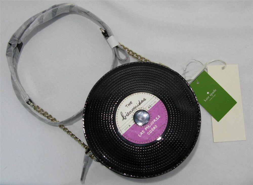 KATE SPADE Saxton Fancy Footwork Black PXRU4960 Record Vinyl Handbag Purse $298 #katespade #MessengerCrossBody #Record $174.89