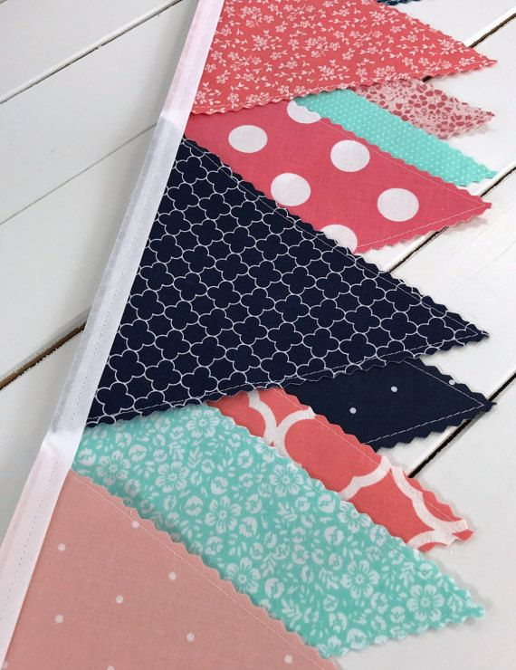 Bunting Fabric Banner, Fabric Flags, Nursery Decor, Garland, Pennant, Home Decor - Coral Pink, Blush Pink, Navy Blue, Mint Green, Flowers