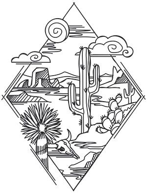 Desert Scene Diamond | Urban Threads: Unique and Awesome Embroidery Designs