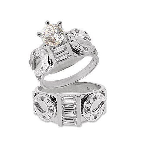 awesome for western wedding white gold trio three piece horseshoe wedding ring set - Western Style Wedding Rings