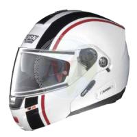 N91025 CASCO NOLAN HELMET INTEGRALE EVO STRIP N-COM METAL WHITE  MOTOPIER STORE