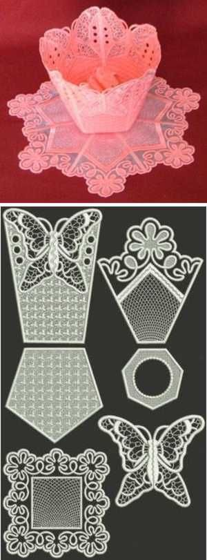 Advanced Embroidery Designs - Butterfly Organza Bowl and Doily Set