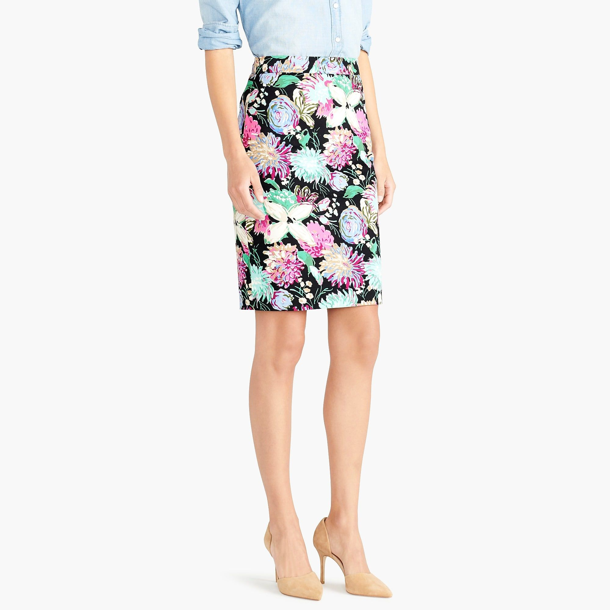 Printed stretch cotton sateen pencil skirt  82162a377