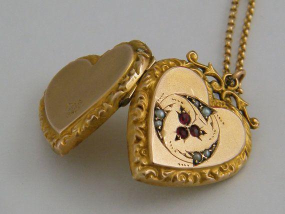 FIDELITY 1910's 9K Gold Locket Necklace by AntiqueLockets on Etsy