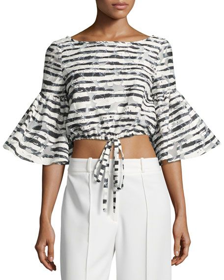 MILLY Lydia Floral Striped Burnout Crop Top, Black. #milly #cloth #