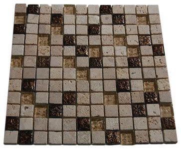 Fusion Camellia Marble & Metal Tiles With Copper Deco contemporary bathroom tile