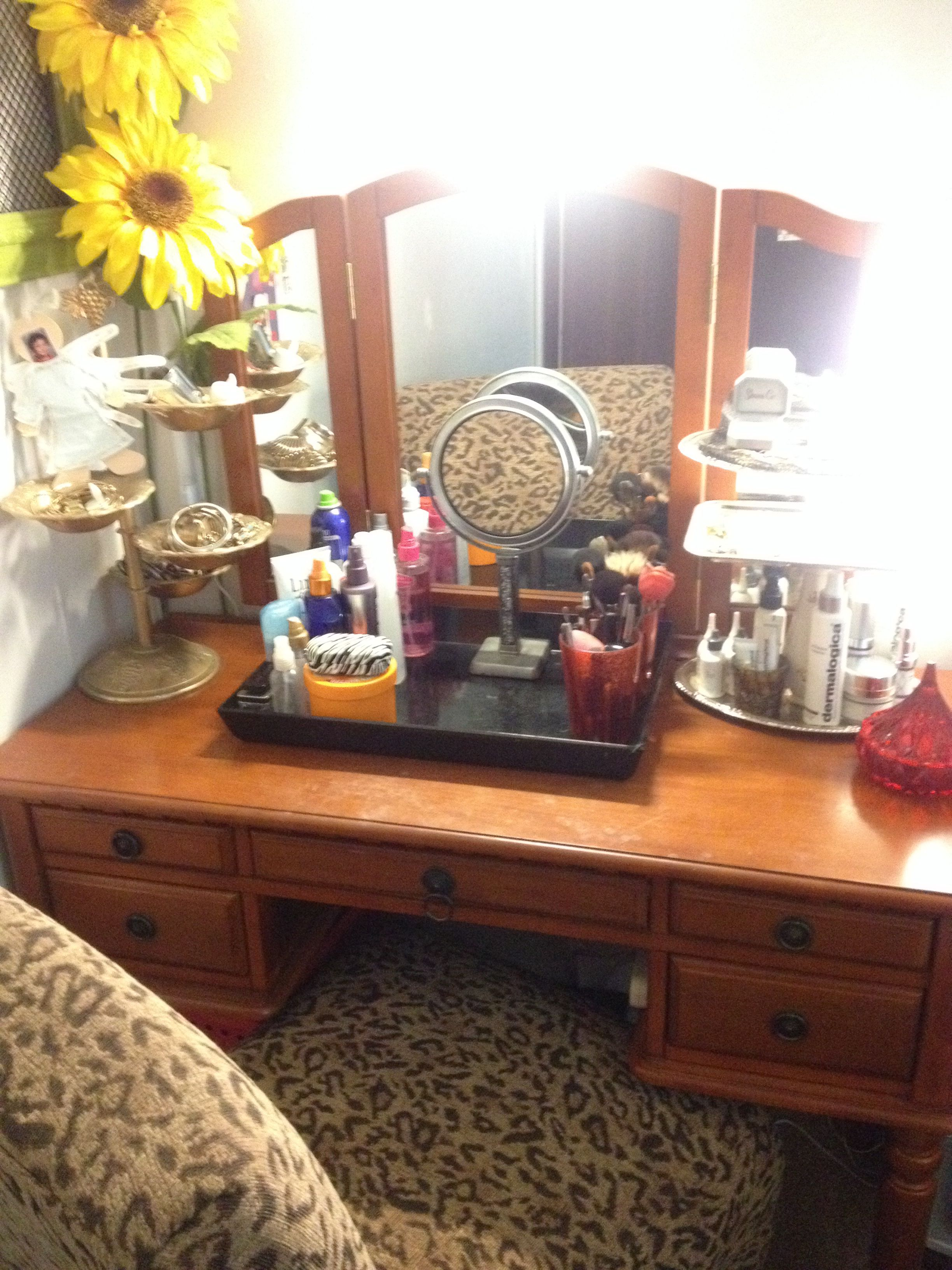 Makeup Vanity from Thrift store finds and the 99 cent
