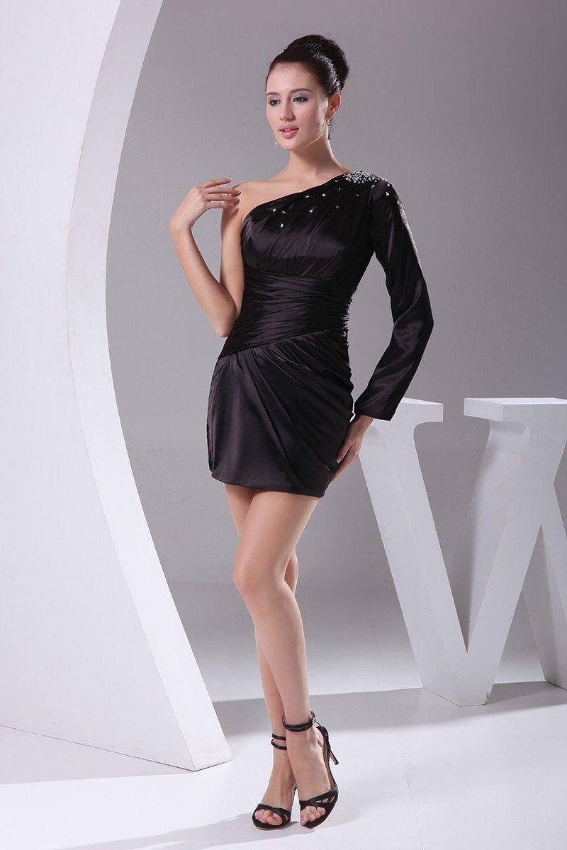 Little black one long sleeve pleated mini short party dress op
