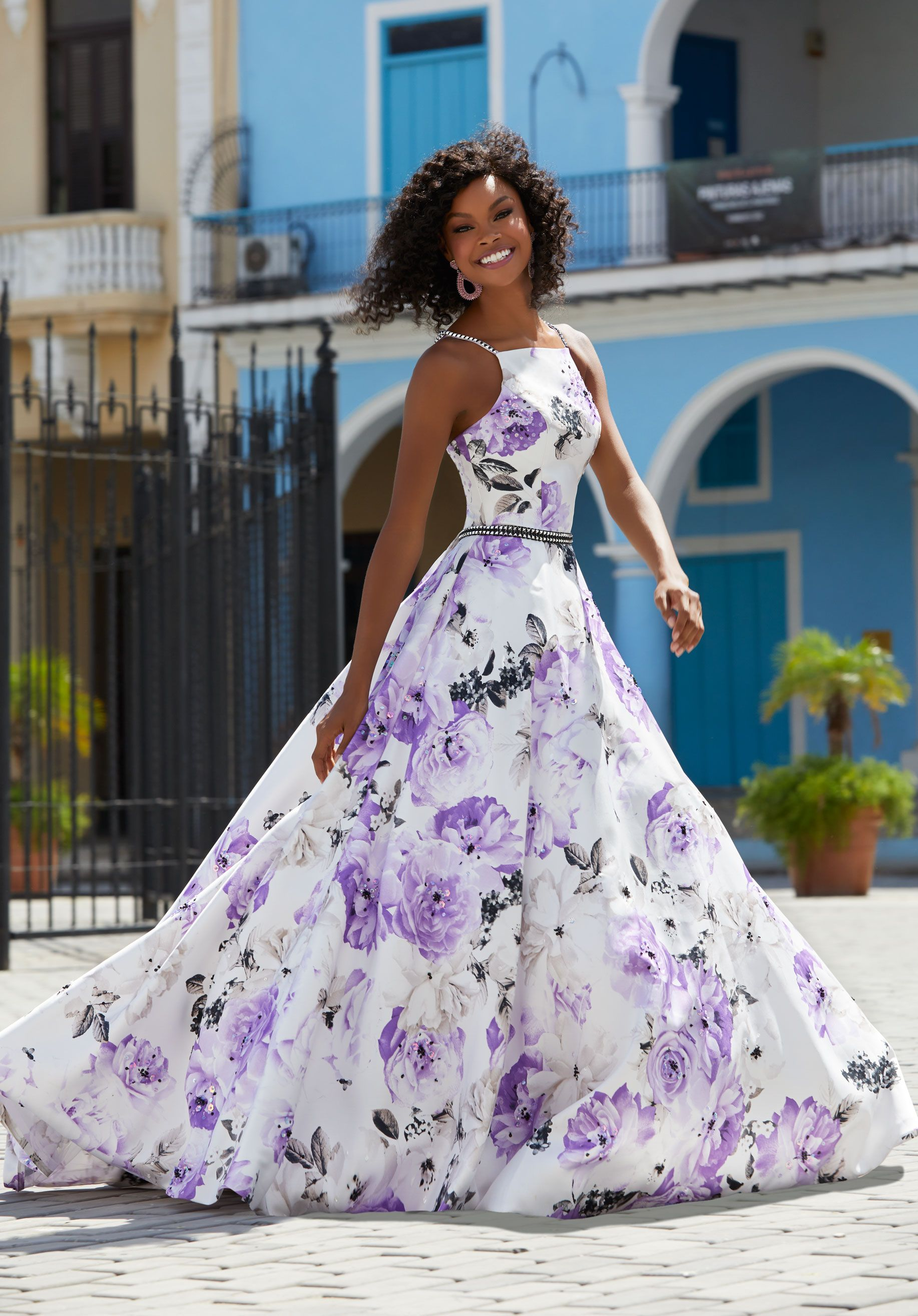 Edgy floral ball gown ball gown prom dresses pinterest square