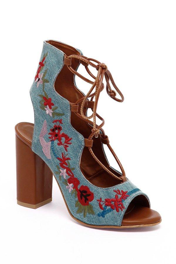 002-247 Mavi Kot İşlemeli Kalın Topuklu Ayakkabı