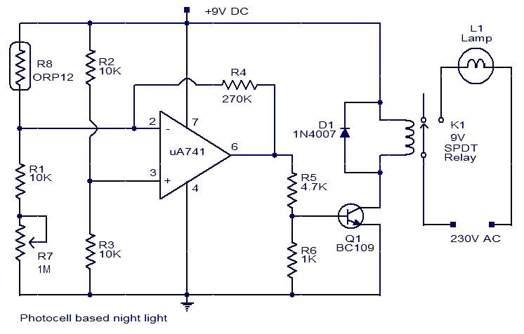 photocell based nightlightelectronic this one uses a photocell for rh pinterest com 2Wire Photocell Wiring Schematic Simple Photocell Diagram