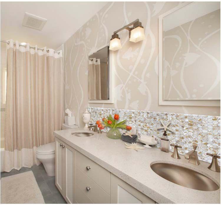 image mosaic backsplash bathroom - Google Search