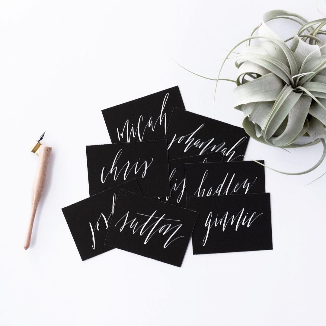 Black And White Place Cards Moody And Edgy Escort Cards Wedding