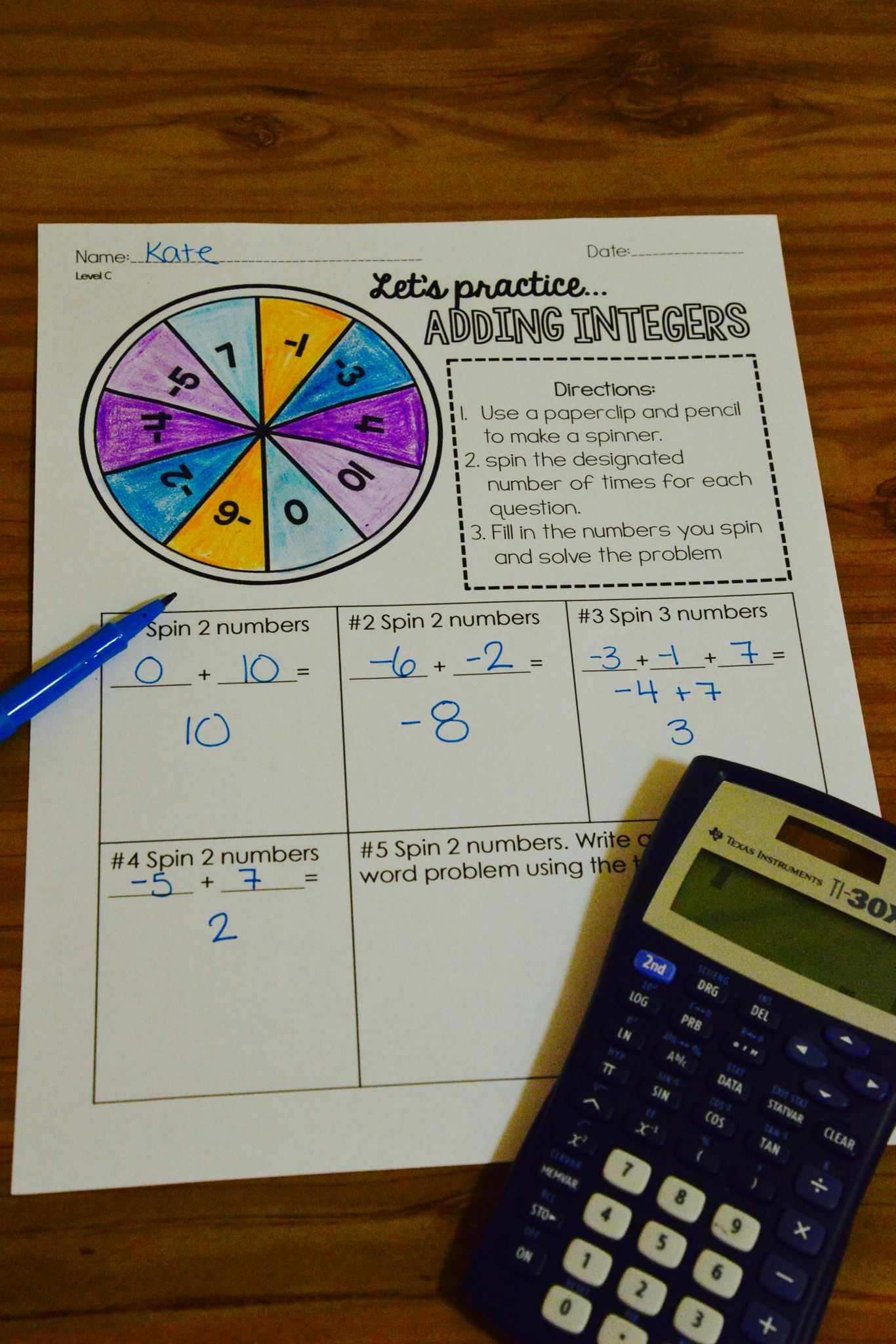 Integer Operations Differentiated Spinner Activities Fun