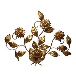 four large sort of insane flower sconces in gold metal