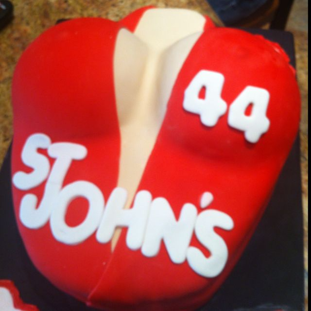 I made this cake for my boyfriends 22nd bday. Big boob cake wearing version of his baseball jersey, him and his team mates thought it was great!