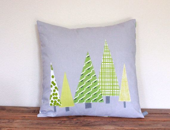 Christmas PILLOW COVER - Tall Pines in Modern Green on Gray ...