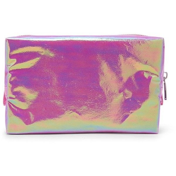 Forever21 Iridescent Makeup Bag (43975 PYG) ❤ liked on Polyvore featuring beauty products, beauty accessories, bags & cases, pink, cosmetic bags, makeup bag case, wash bag, forever 21 and make up purse