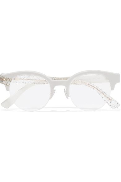 5f9ce17237 Jimmy Choo - Round-frame Glittered Acetate Optical Glasses - White ...