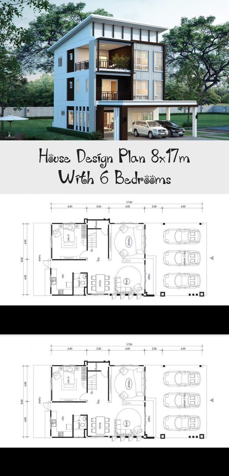 House Design Plan 8x17m With 6 Bedrooms Erin S Blog En 2020 Anfiteatros