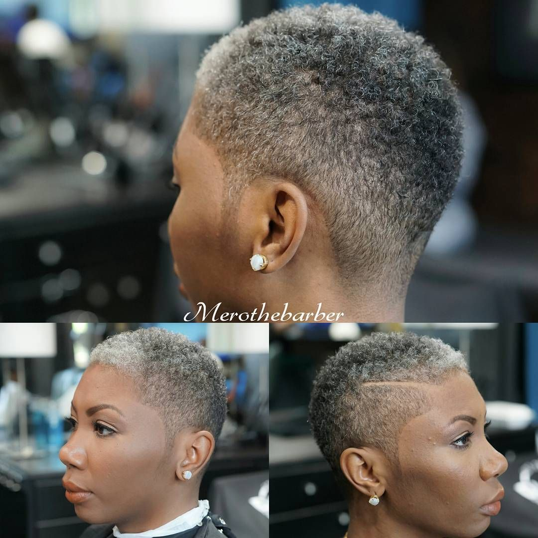 Fade Haircut With A Part On A Woman With Images Short Grey