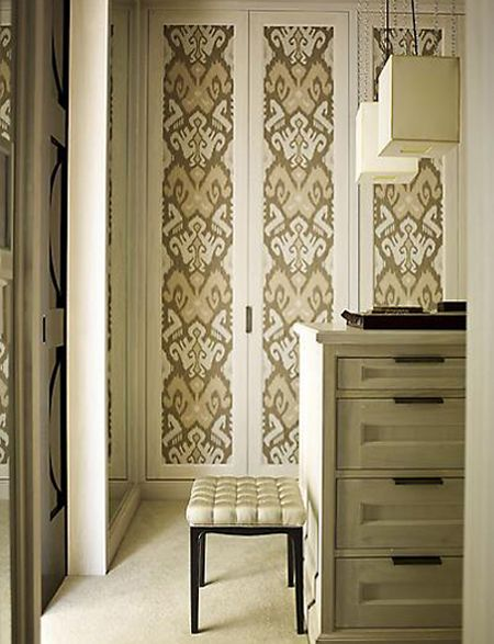 Use fabric to panel closet doors | Home Sweet Home | Pinterest ...