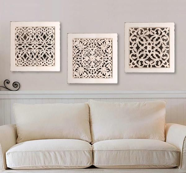 Square wall art antique white