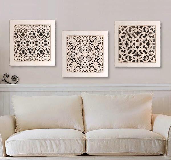 Elegant Square Wall Art  Antique White