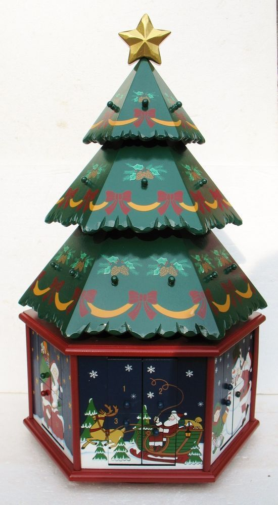 NEW KIRKLAND WOODEN ADVENT CALENDAR TREE Swivel w/ Christmas ...