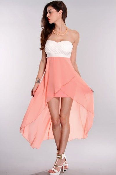 6159d80cf9 Looking for this dress everywhere  Peach White High Low Hem Strapless Dress    Amiclubwear sexy dresses