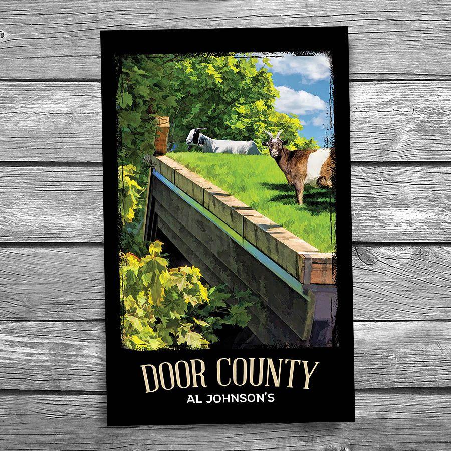 Door County Al Johnson Goats on Roof Postcard Door