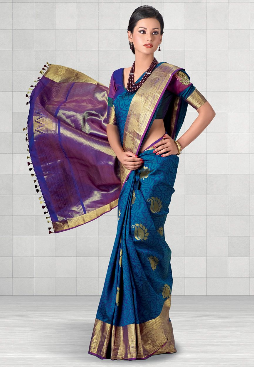 28ffb0eb7993b Dark Blue Pure Kanchipuram Handloom Silk Saree With Blouse Online Shopping   SHP114
