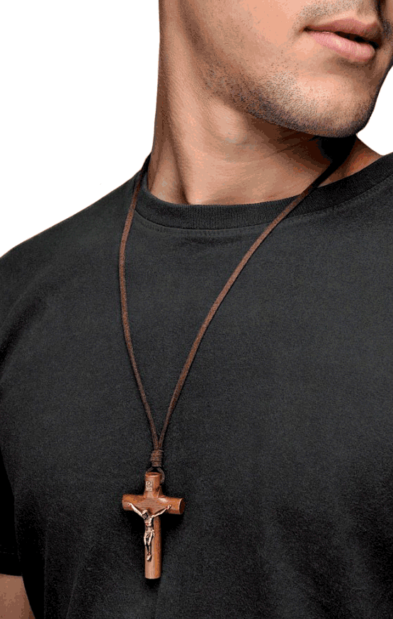 Wooden Cross Necklace Leather Cord For Men Catholic Jewelry And