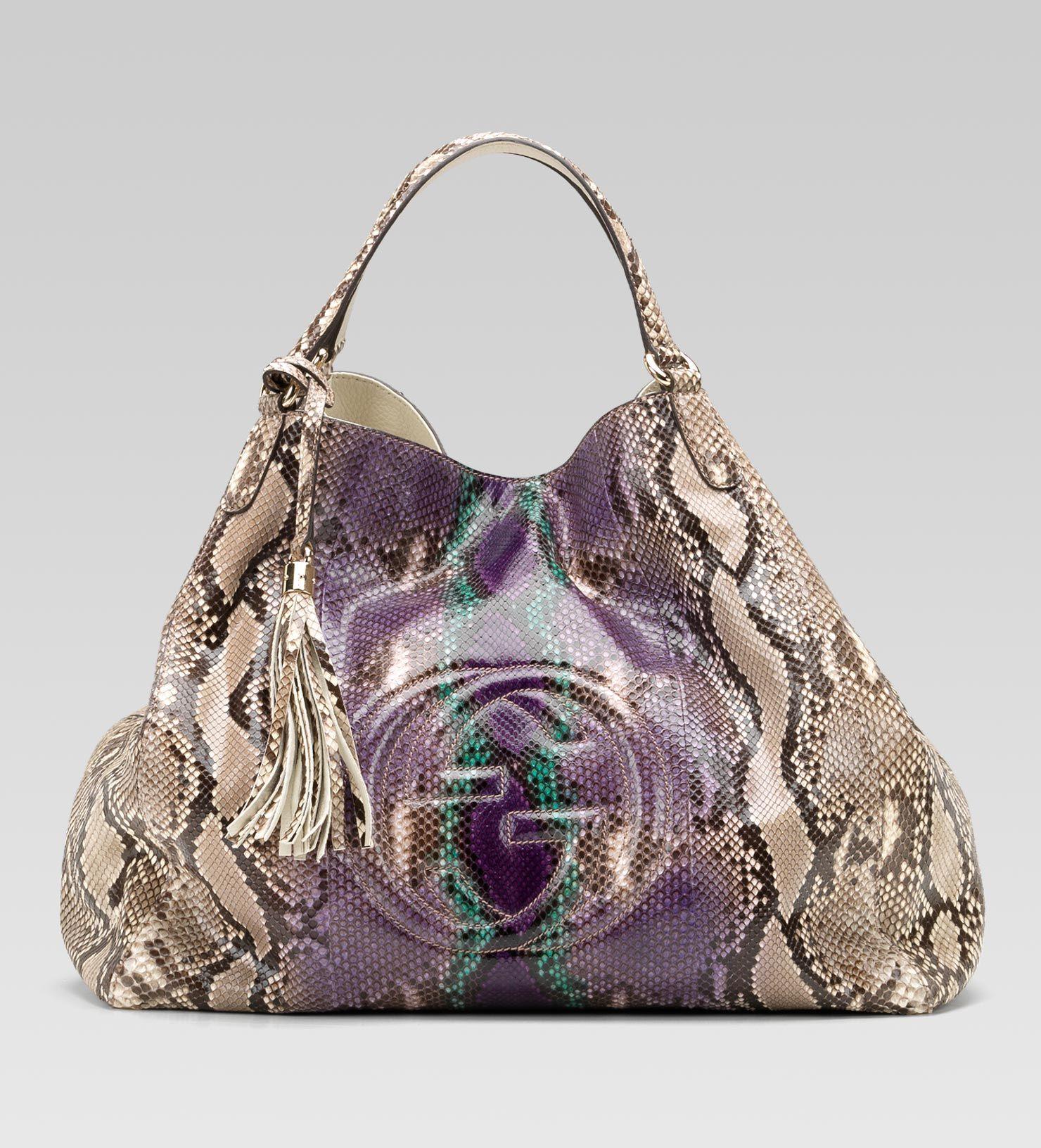 3605501dc13 Gucci  soho  large shoulder bag in grape multi-color python  soho  large  shoulder bag with embossed interlocking G and tassels grape multi-color  pytho