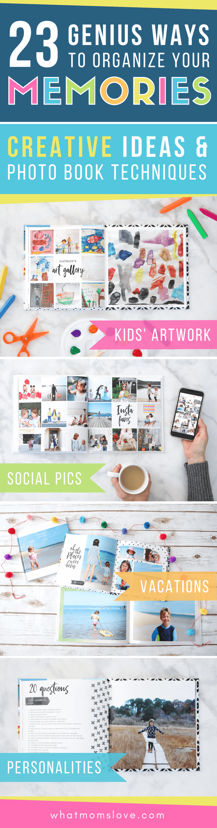 These yearly family photo book ideas are so creative! Include tips for how to make your own personalized annual yearbook with tutorials for layout, design and best website to use. These make great gifts and are awesome keepsakes for your kids!