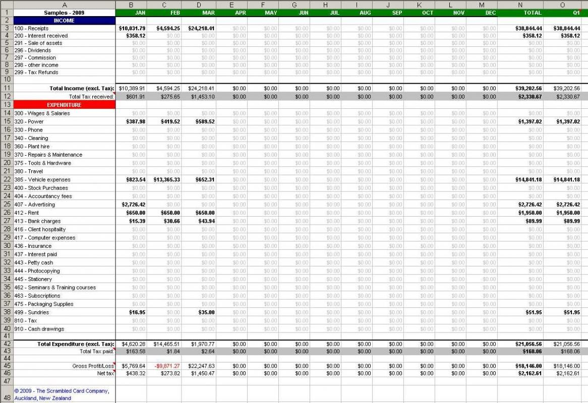 Small Business Spreadsheet For Income And Expenses And