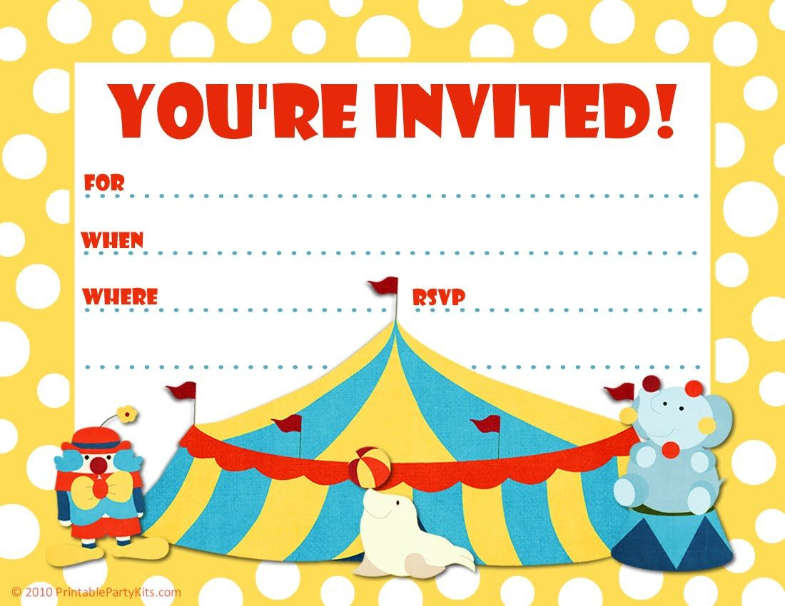 Free Printable Party Invitations: Big Top Circus Themed Party Invite ...