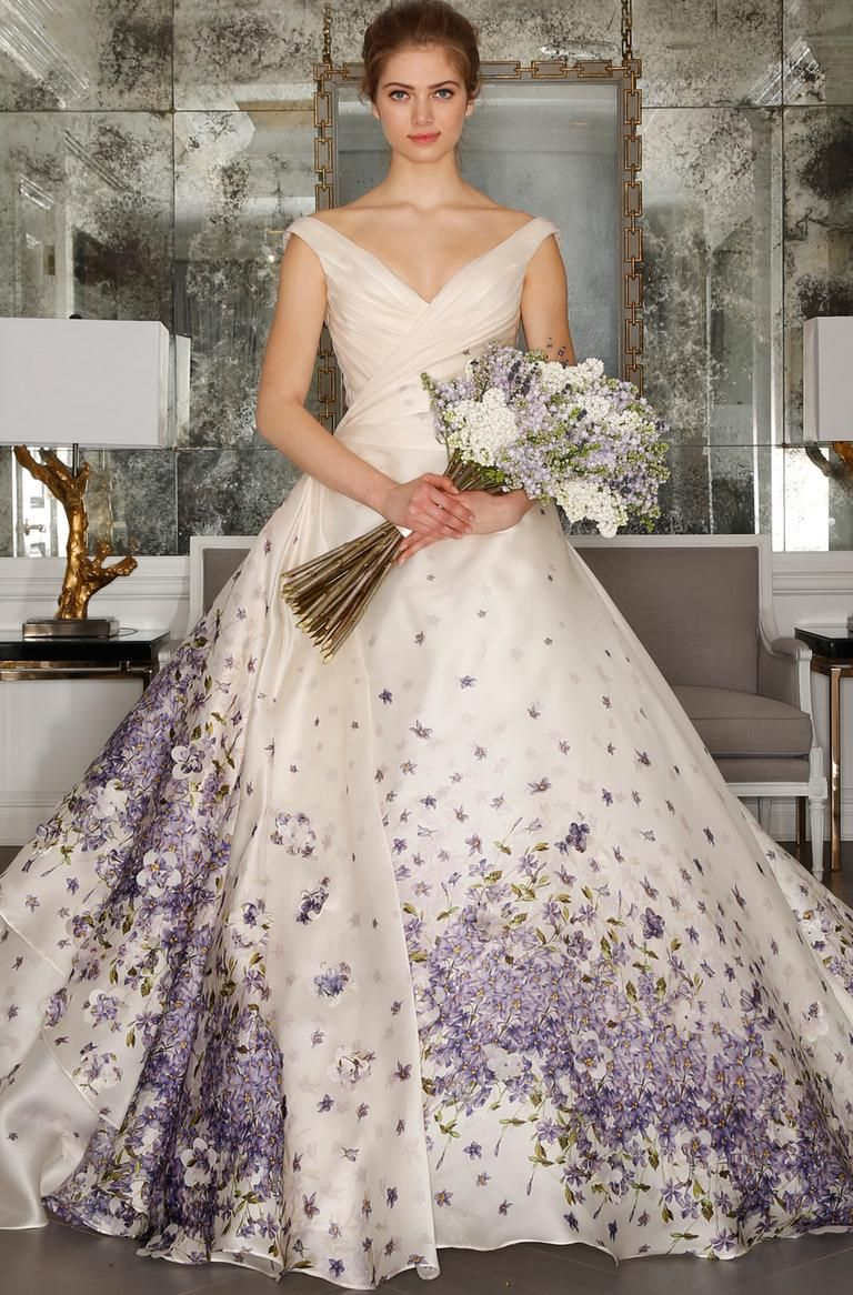 Purple floral off the shoulder wedding dress from romona kevezaus