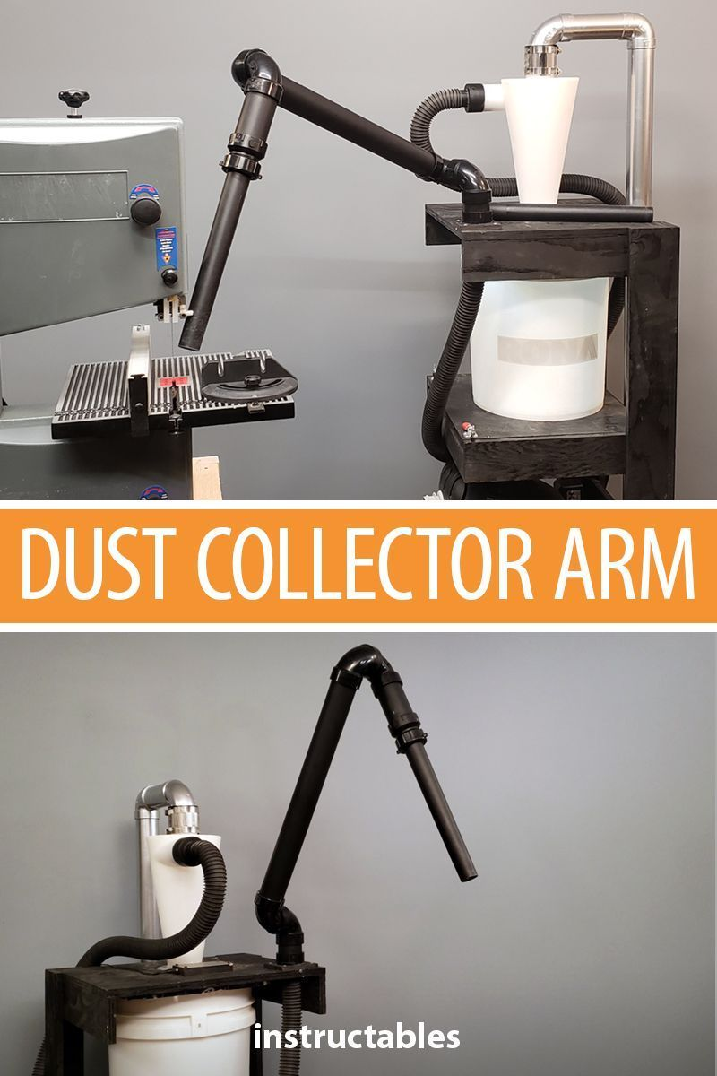 Add A Dust Collector Arm To A Dust Collector Cart To Keep Your Workspace Clean Workshop Woodworking Wood Dust Collector Woodworking Shop Layout Woodworking
