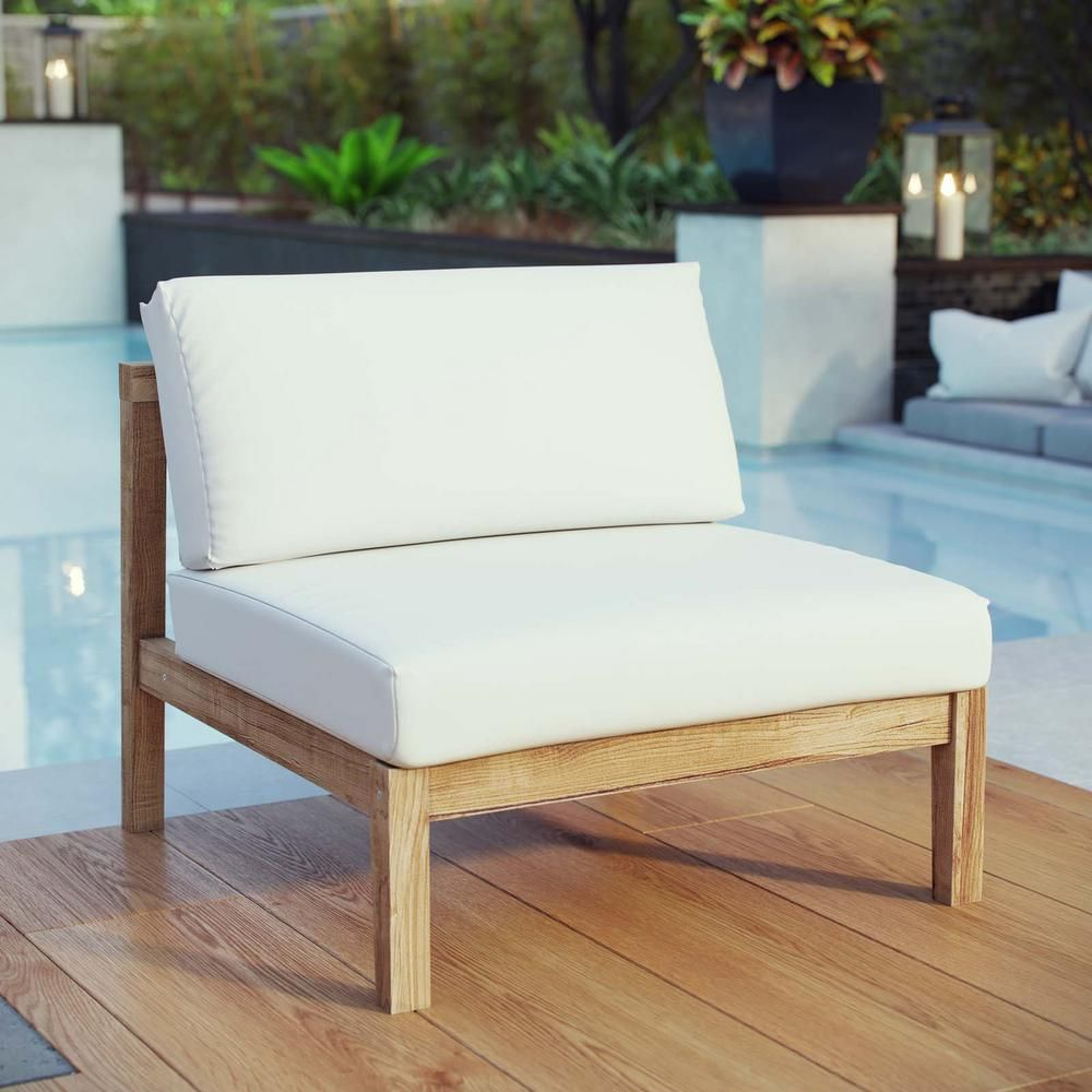 Modway Bayport Patio Teak Outdoor Armless Lounge Chair In Natural With White Cushions Eei 2697 Nat Whi The Home Depot Teak Patio Furniture Backyard Furniture Armless Lounge Chair