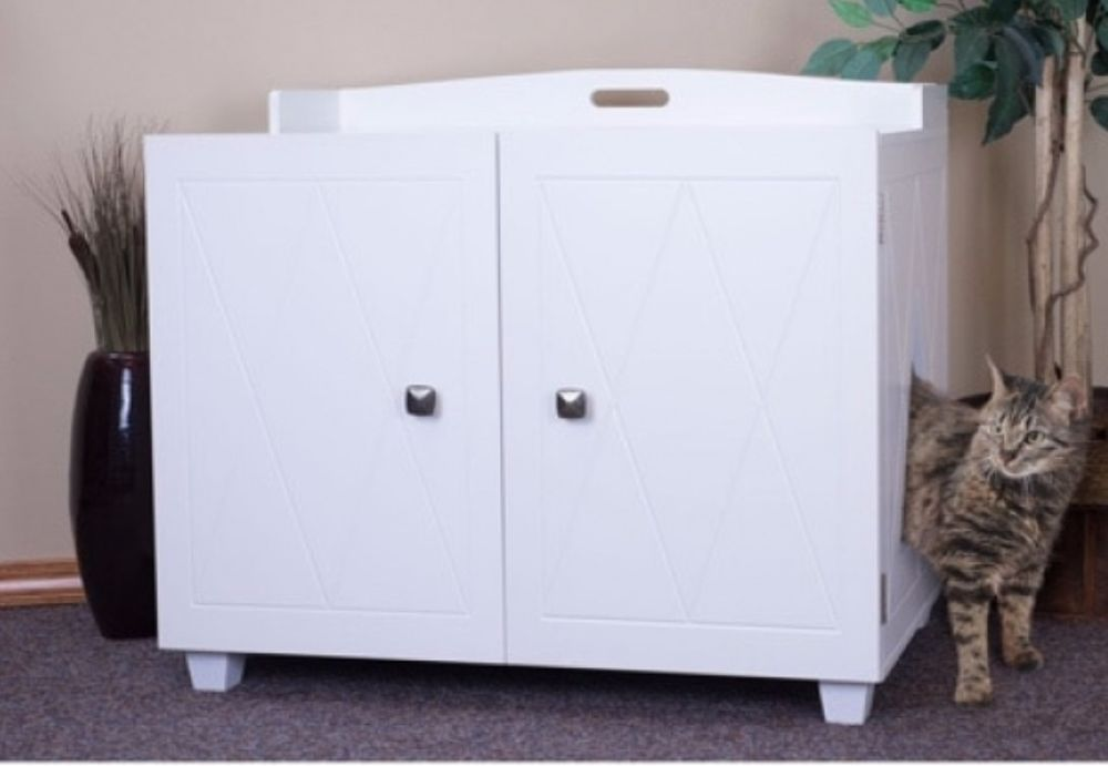 Details About Enclosed Litter Box Furniture Cat House For Indoor Cats Large  Hidden Covered