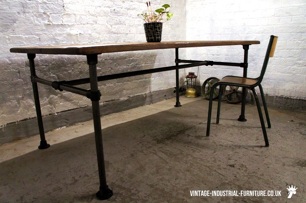 Wonderful Oak Dining Table With Tubular Legs   Vintage Industrial Furniture