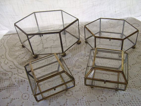 Vintage Brass and Glass Jewelry Trinket Display Boxes 2 six sided